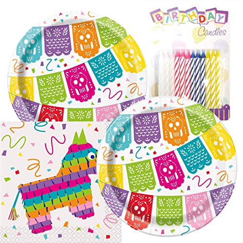 Fiesta Paper Plates - Mexican Fiesta Birthday Party Pack -