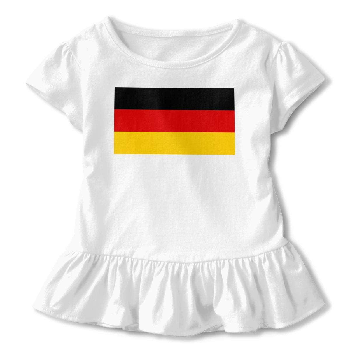 Flag of Germany Baby Girls Short Sleeve Ruffles T-Shirt Tops 2-Pack Cotton Tee