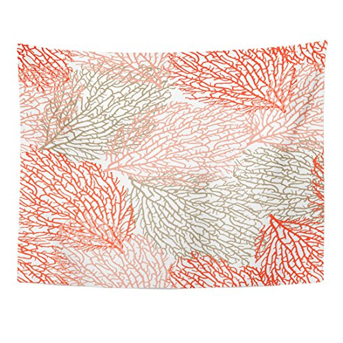 TOMPOP Tapestry Coastal Coral Bright Cheerful Summer Pattern Interior Cosmetics Food Home Decor Wall Hanging for Living Room Bedroom Dorm 60x80 ()