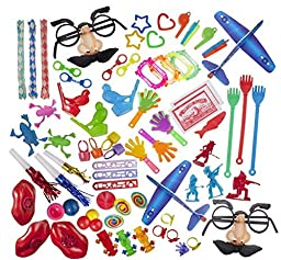 Party Favor Toy Assortment Pack of 100 Pc, Includes a Wide Range of Mid-size and Small Toys, Small Prizes, for Party Favor Bags, School Classrooms, and Carnivals, (Exclusively Sold By: Smart Novelty)