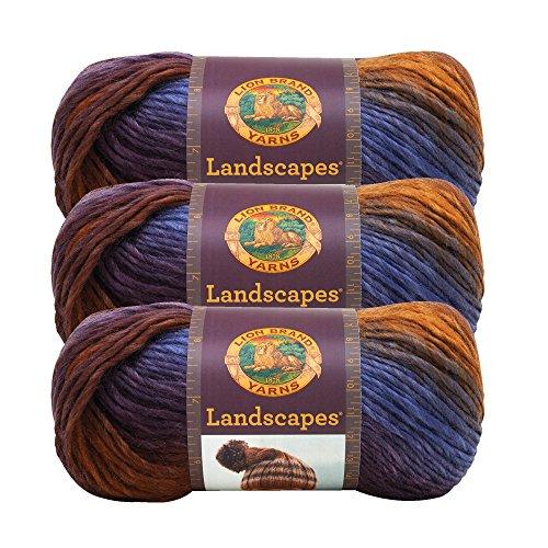 Mountain Wool Knitting Yarn - (3 Pack) Lion Brand Yarn 545-202 Landscapes Yarn, Mountain Range