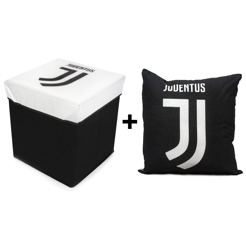 Cuscino arredo Juventus Ufficiale Kit Pouf Puff Contenitore poggiapiedi Sgabello Juventus