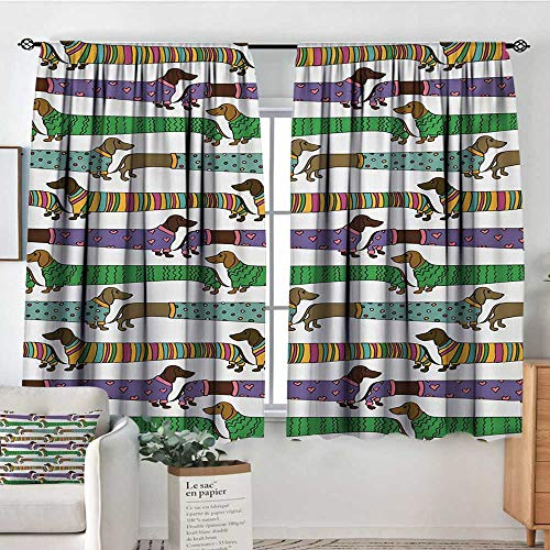 All of better Dog Lover Room Darkening Curtains Cartoon Style Dachshunds Dressed in Pyjamas Chevron Lines Polka Dots and Hearts Door Curtain Blackout 72