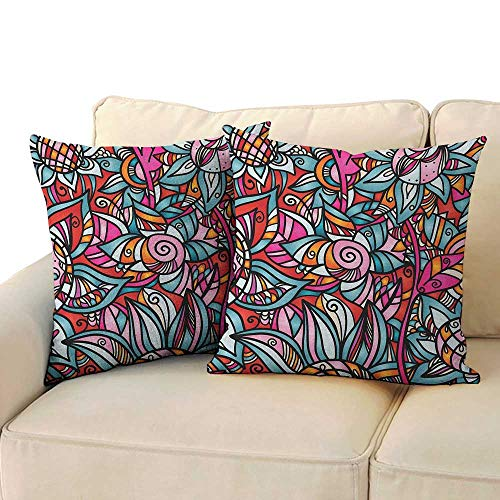 - RenteriaDecor Abstract,Printed Pillowcase Colorful Florals Sunflower Mosaic Curl Ornaments Stained Glass Inspired Design 14