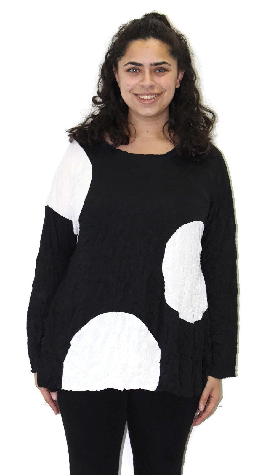 Comfy USA Women's Crinkle Black & White Circle Tunic Reg & Plus (3X, Black & White)