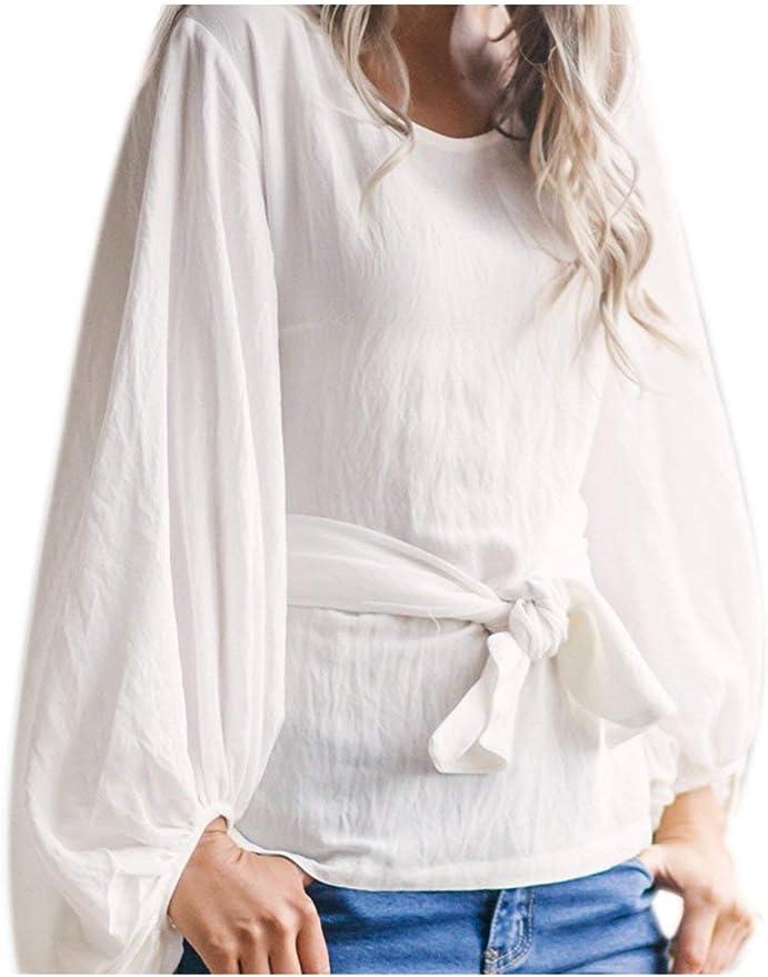 Yisaesa Camisa de Manga abullonada para Mujer Casual Tie ...