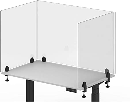 "Desk Barrier Offex Clear Antimicrobial Plexiglass Protection Shield 48/""x23.5/"""
