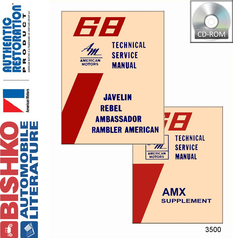 Bishko Automotive Literature 1968 Amc Javelin Rebel 68 Amx Wiring Diagram Ambassador Shop Service Repair Manual Cd Engine