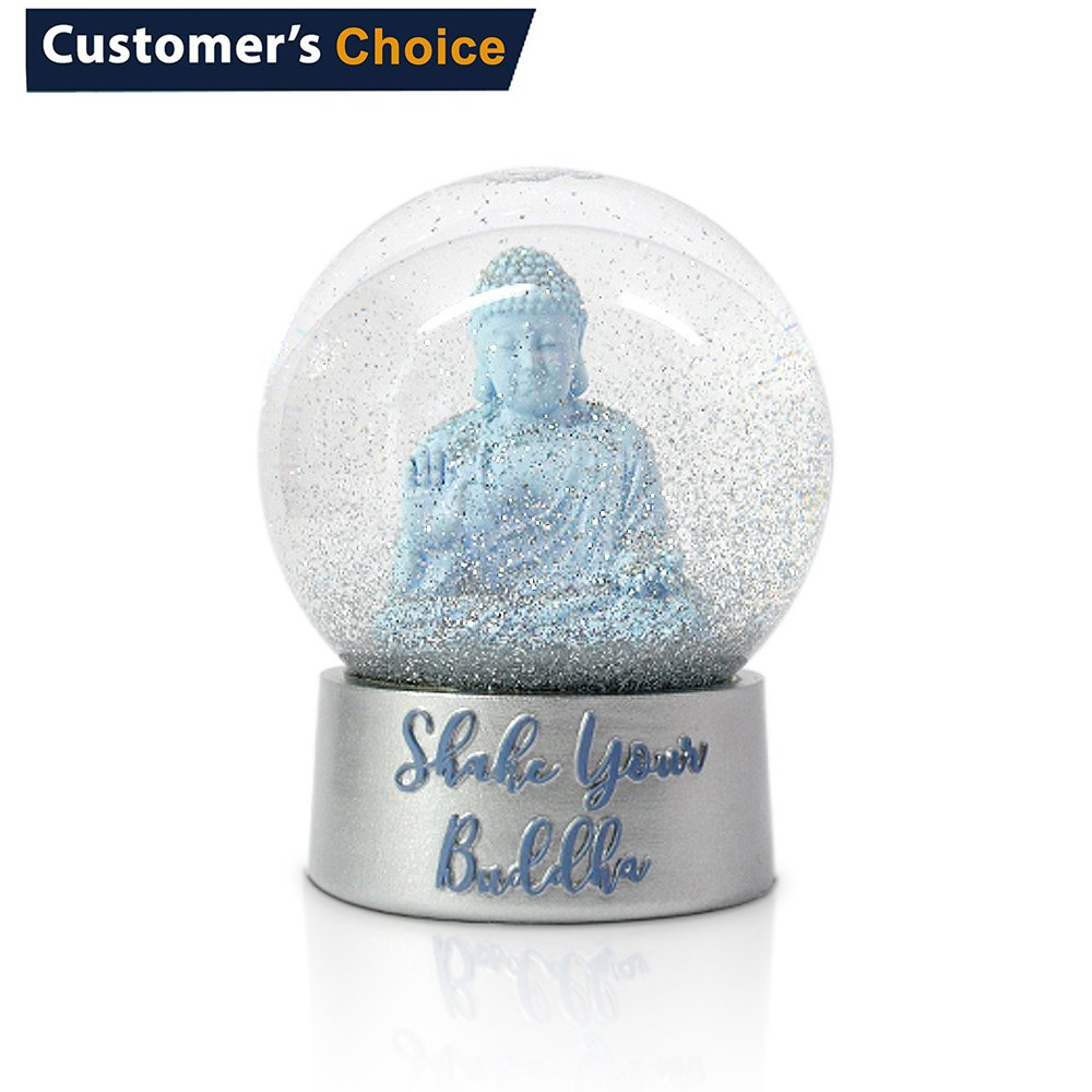 Funderdome Snow Globe by with Buddha Sculpture Inside, Snow Globes for Kids, Glass Globes for your home.