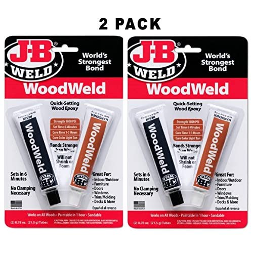 J-B Weld 8251 WoodWeld Quick Setting Wood Epoxy Adhesive - 1 52 oz
