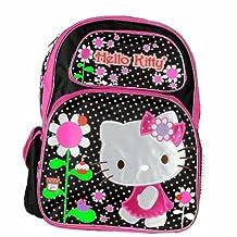Hello Kitty Flowers Black/Pink Backpack 17 School Bag BP-5281
