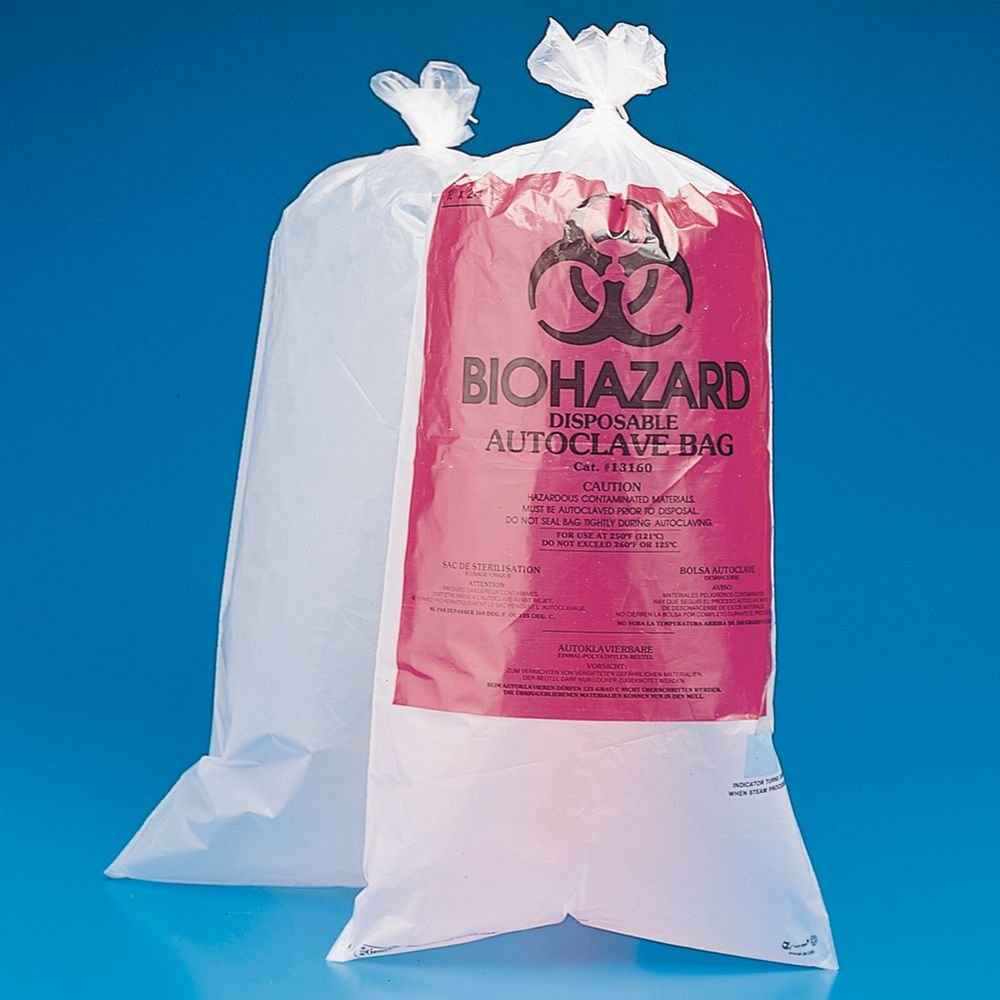 Autoclavable Biohazard Disposal Bags, 12 x 24'', Pack of 100