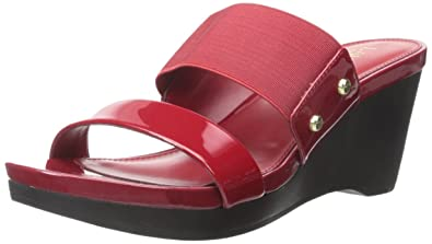 Ralph Lauren Womens RHIANNA Leather Open Toe Casual Slide Red Size 100