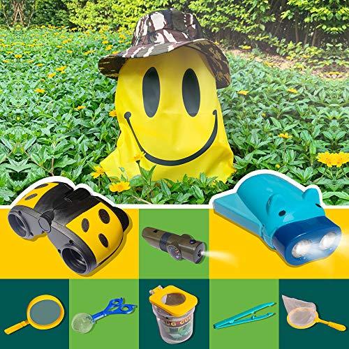 (Kids Explorer Kit, Bug Catcher Kit, Outdoor Adventure Set for Boys/Girls Age 2 3 4 5 6 7 8-Boy Adventure Gifts-Toddler Explorer Kit: Hat, Binoculars, Flashlight, 5 in 1 Whistle, Magnifying Glass)
