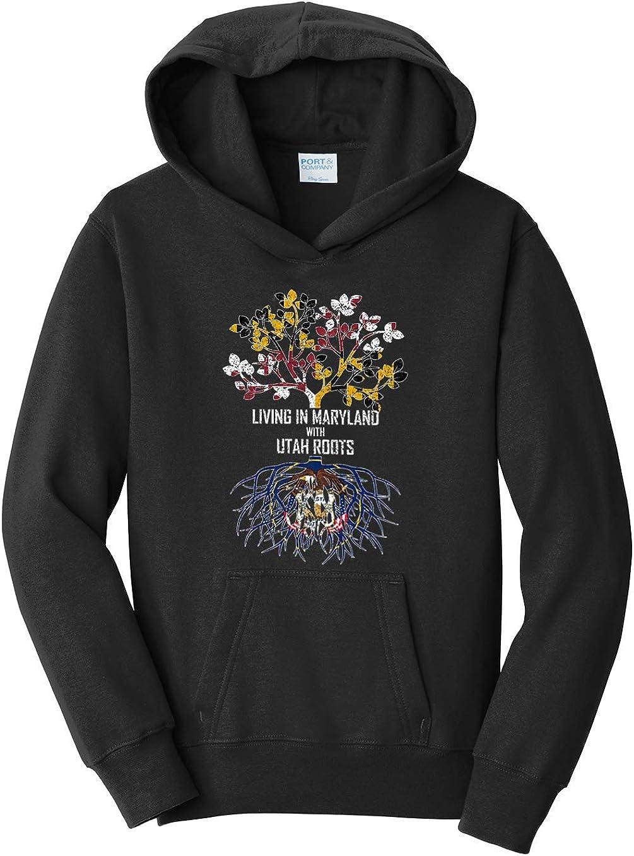 Tenacitee Girls Living in Maryland with Utah Roots Hooded Sweatshirt