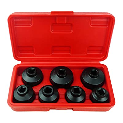 7-Piece Oil Filter Cap Wrench Tool Kit Includes 24mm,27mm,29mm,30mm,32mm,36mm,38mm Socket Set Compatible with Mercedes Benz, VW, BMW and More Automotive Cartridge Oil Filter Housing (Black): Automotive