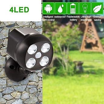 4 ° Mouvement À De Extérieur PilesÉclairages Détecteur Sécurité Pour Led MurJardin SpotIp65 Rotatif LumièresLampe 360 Étanche e9WHYED2I