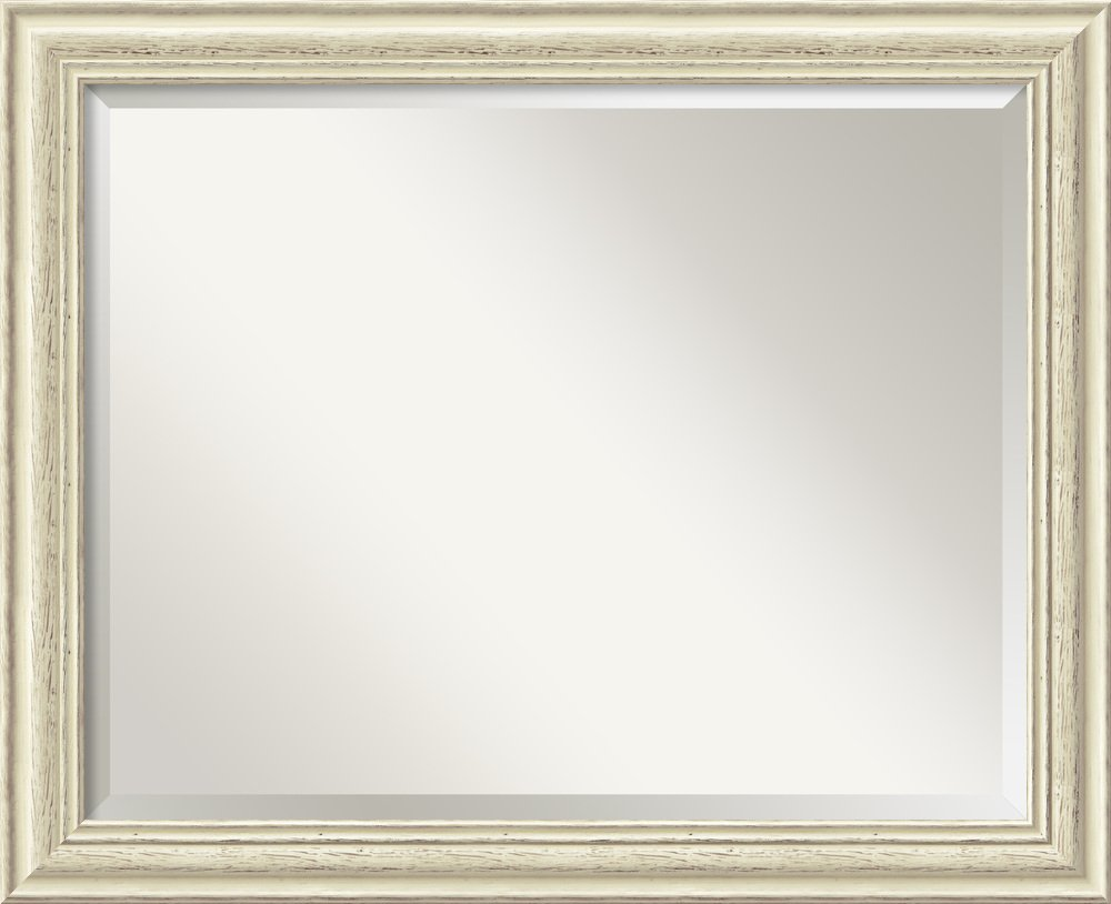 Wall Mirror Large, Country White Wash Wood: Outer Size 32 x 26''