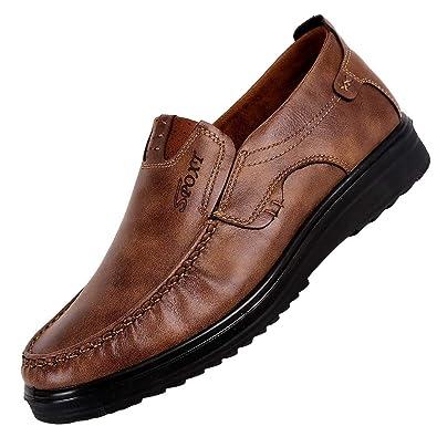 57376eedf0b9b OSYARD Mocassins Homme Habillé en Cuir sans Lacets Semelle Souple Respirant Chaussures  d affaires
