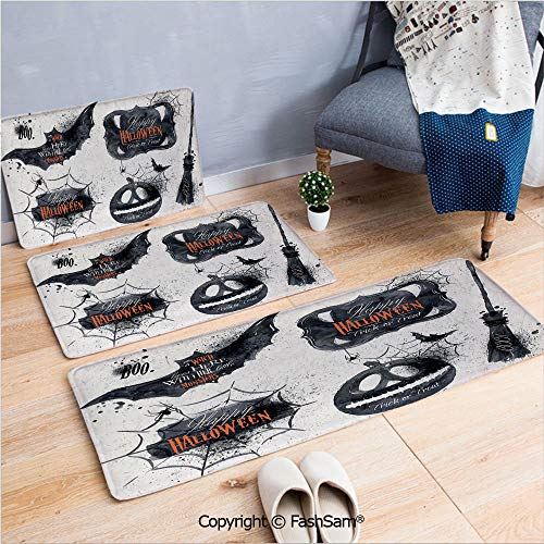 FashSam 3 Piece Flannel Bath Carpet Non Slip Halloween Symbols Happy Holiday Witch Lives Here Broomstick Spider Web Decorative Front Door Mats Rugs for Home(W15.7xL23.6 by W19.6xL31.5 by W15.7xL39.4) -