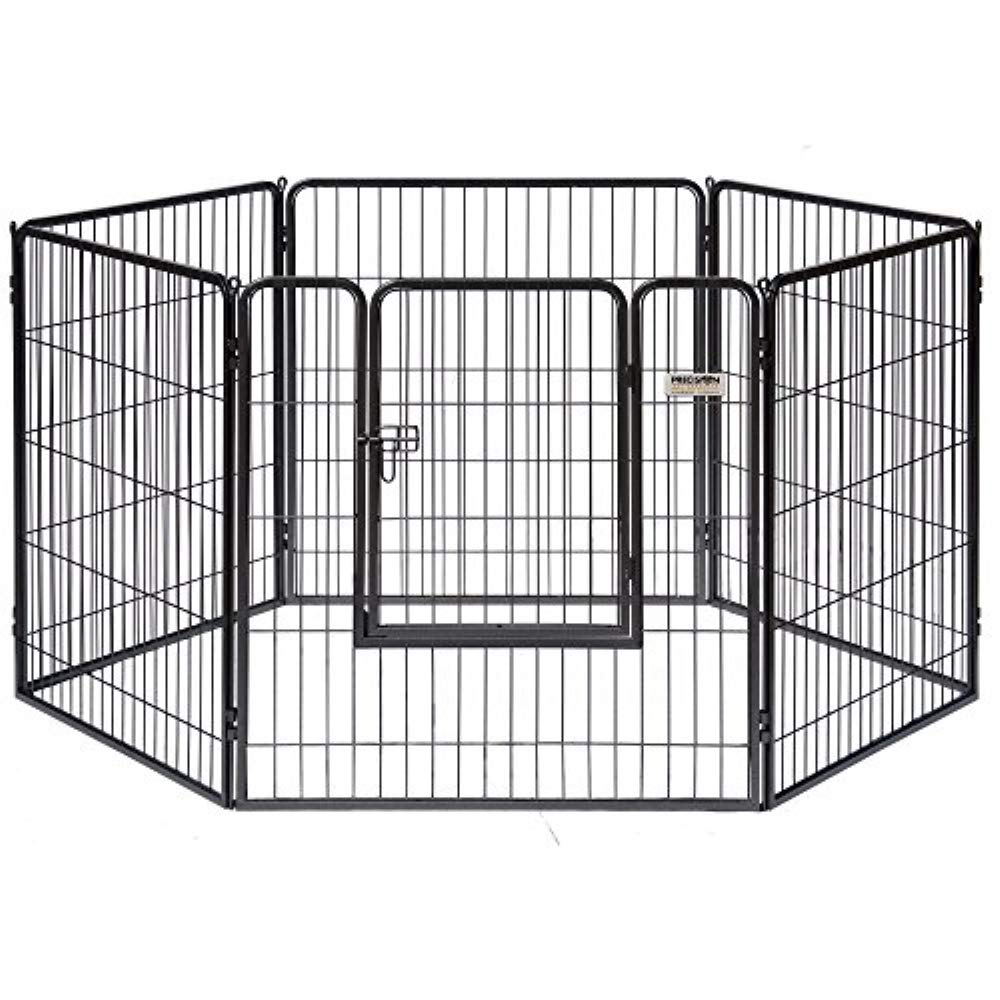 Petmate Courtyard Exercise Pen Drop Pin Design Walk-In Door Silver Crackle Finish by Precision Pet