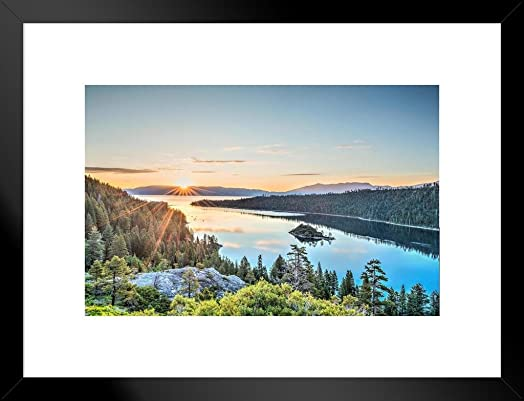 Poster Foundry Lake Tahoe Emerald Bay Sunrise Photo Art Print Matted Framed Wall Art 20×26 inch