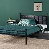 Zinus Metal Platform Bed/Bed Frame with Faux Leather Square Stitched Upholstered Headboard, Twin XL