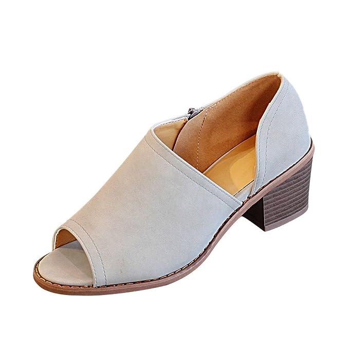 Darringls_Zapatos para Mujer,Zapatillas con Cremallera Talón Grueso Botines Peep Toe Mujer Sandalias Tacon Medio: Amazon.es: Ropa y accesorios