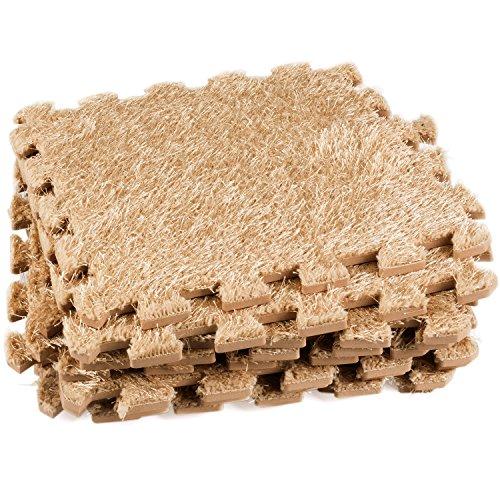Dooboe Interlocking Floor Mats - Shag Rug - Foam Interlocking Foam Mats - Baby Play Mat - Interlocking Carpet Tiles - Light Tan - Non-Toxic, Anti-Fatigue, Premium Puzzle Floor Mat