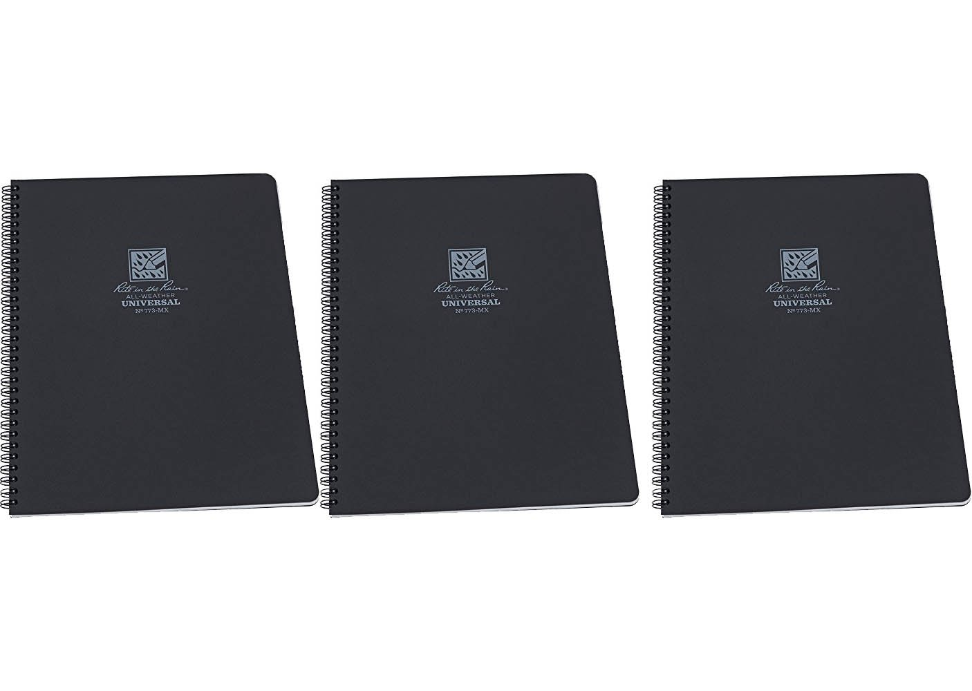 Rite in the Rain 773-MX 84-Pages Black Waterproof Universal Notebook, 3-Pack by Rite In The Rain