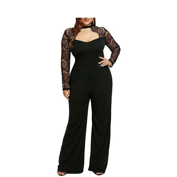 Nboba Plus Size 5xl Lace Jumpsuit Women Work Black Long Pants Party