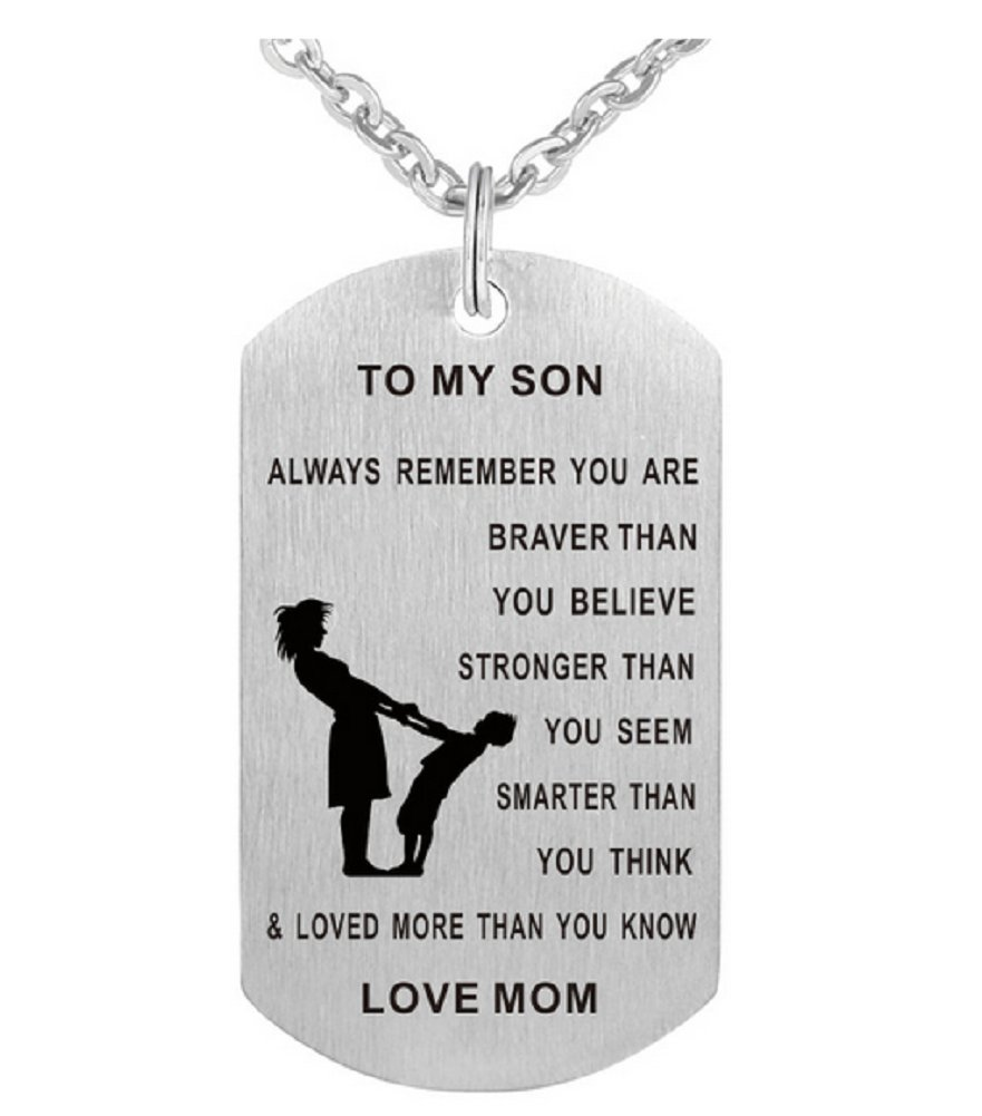 Stainless Steel Dad/Mom's Inspirational Message To Son/Daughter Tag Pendant Necklace Love Gift-NK530 Starryinter