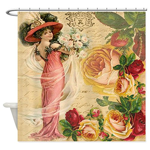 Rug Rose Antique - CafePress - Rose Lady - Decorative Fabric Shower Curtain