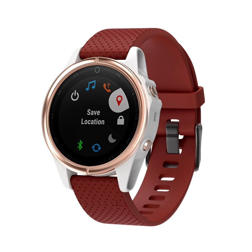YJYdada Replacement Silicone Quick Release Easy Fit Wirstband for Garmin Fenix 5s Plus (Red)