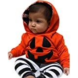 Baby Halloween Costumes, Boy Girls Pumpkin Hooded Blouse +Stripe Pants Halloween Outfits Set by Kolylong (12M, Orange)