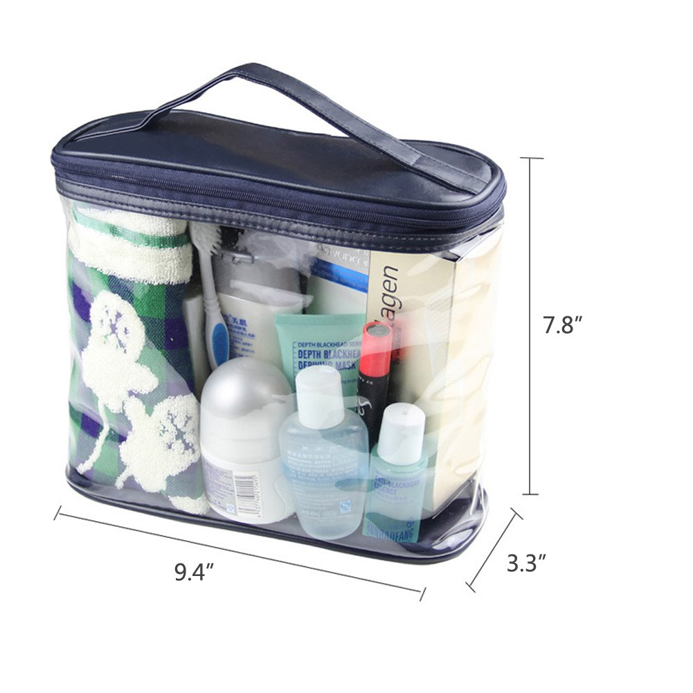 21227d5bbcdcdd Amazon.com : HaloVa Transparent Toiletry Bag, Clear Travel Makeup Pouch  Sundry Bag, Cosmetics and Toiletries Organizer Bag with Top Handle for Men  and Women ...