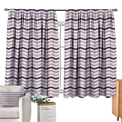 Unprecall Eggplant Curtains for Living Room Sea Ocean Wave Inspired Zig Zag Image in Purple Tones Art Print Pale Pink Purple and Lilac Curtain Valance W55 x L39