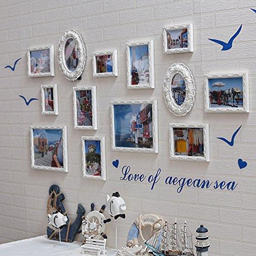 Bilderrahmen*Massivholz photo wall Frame Wand des mediterranen Restaurant Foto an der Wand im Wohnzimmer Sofa kreative Bilderrahmen an der Wand, weiß EIN