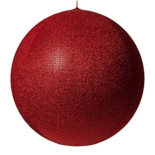 Inflatable Decorative Ornament, Yard Christmas Decoration, Christmas Decoration for Businesses, Huge Christmas Ball Decoration Christmas Home (28 Inch, Red Metallic Mesh)]()