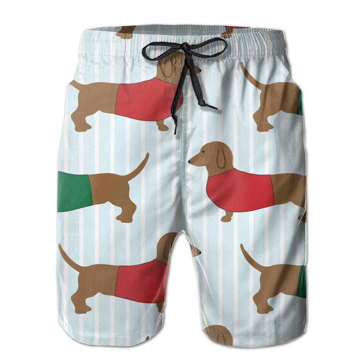 Life Pstore Mens Beach Swimming Trunks Funny Dachshund Swimsuit Swim Underwear Boardshorts with Pocket
