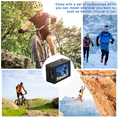 Levin Sports Camera Action Camera 2.0 Inch 170 Degree Ultra-wide Angle Lens Full HD 1080p 12MP WiFi Remote Control Waterproof Sports Diving Camera with Accessories