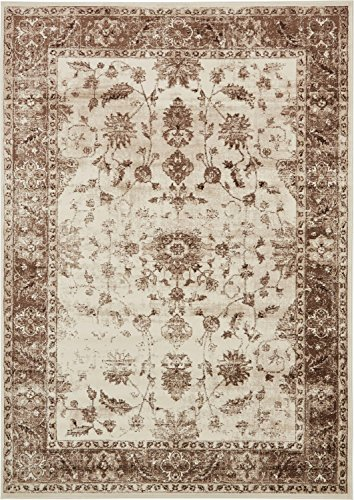 Unique Loom Rushmore Collection Traditional White Tone-on-Tone Cream Area Rug (7' x (Floral Polyester Rug)