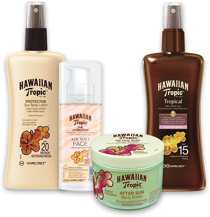 Hawaiian Tropic PACK Belleza - Kit con Aceite Seco Bronceador Spray SPF 15 + Crema Solar Satin Protection SPF 15 + Crema Facial Silk Hydration SPF 30 + After Sun Body Butter Coco