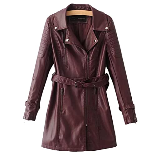 Zhhlaixing Fashion PU chaquetas mujer cuero Motorcycle Jacket Windbreaker Slim Waist Long Winter Coa...