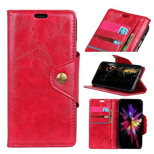 Funda Samsung Galaxy A8 2018 [Happon] Ranuras para Tarjetas y Billetera Carcasa PU Libro de Cuero Flip Leather Cierre Magnético Soporte Plegable para Samsung Galaxy A8 2018 (Azul) Rojo