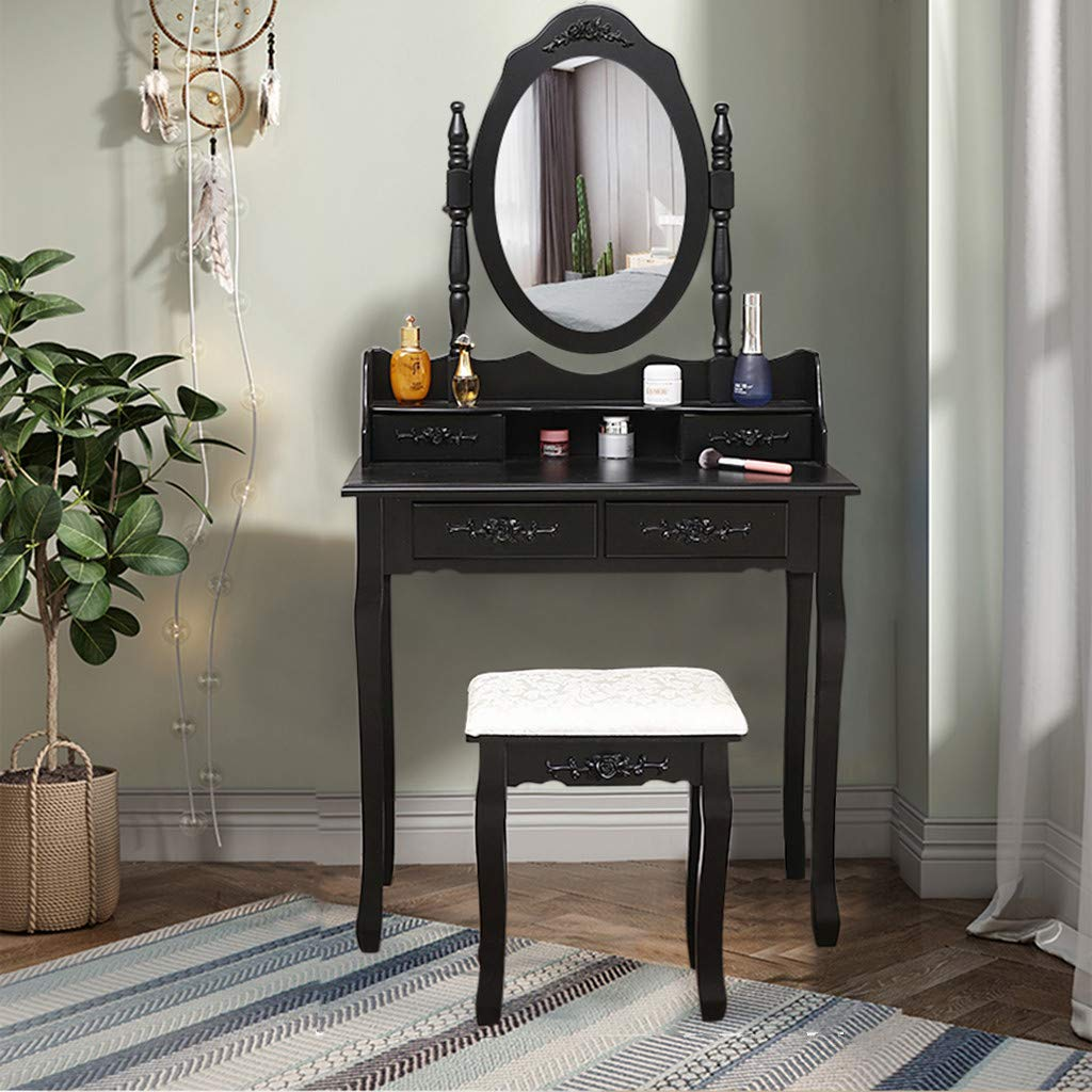GraPefruiT Vanity Set with Oval Mirror and Cushioned Stool, Dressing Table, Makeup Vanity Table with Vanity Chair, 4 Drawers, Easy Assembly, 75 x 40 x 138 cm (Black) by GraPefruiT Vanity