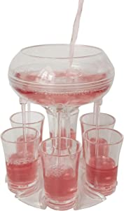 C CASIMR 6 Shot Glass Dispenser and Holder, Drink Liquor Cocktail Dispenser with 6 Cups for Filling Liquids, ideal for party, Bar and Drinking Games