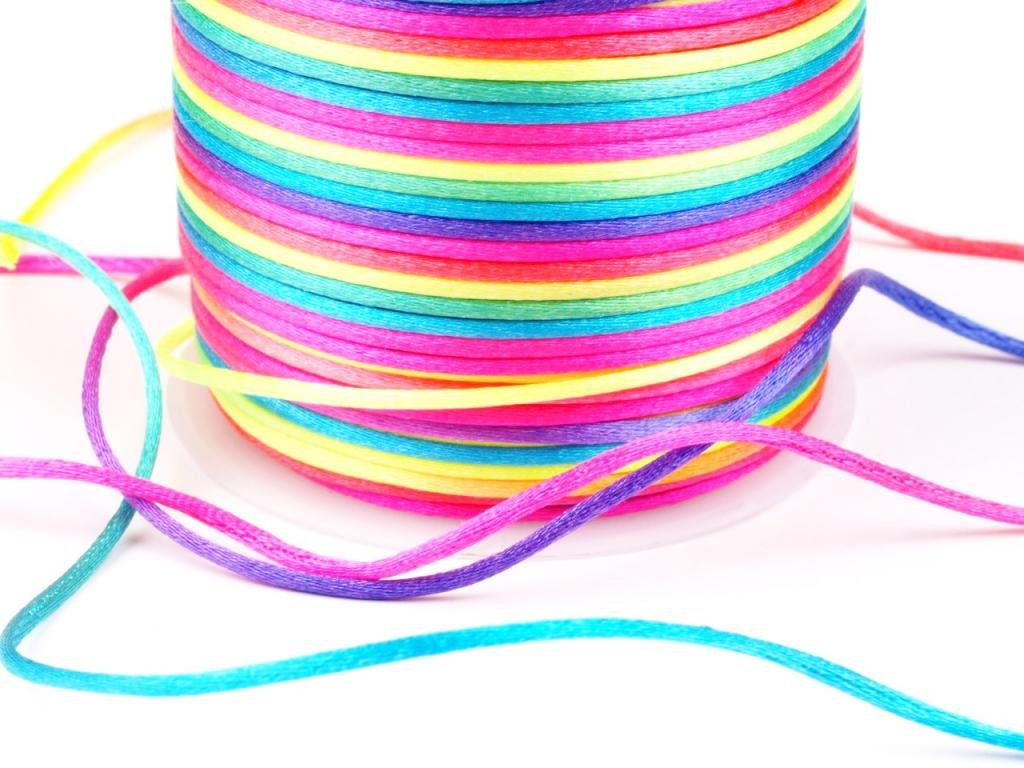 Angel Malone ® Approx. 20mtrs. 2mm Premium Rainbow Rattail Satin Cord