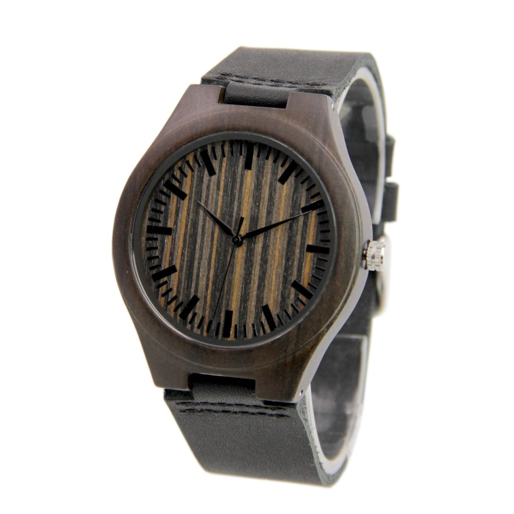 Mens Wood Watch with Black Leather Strap Christmas Gift to Him