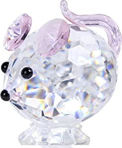 HDCRYSTALGIFTS Crystal Mouse Figurines Collectibles-Glass Animals Figurine Home Decor